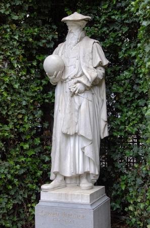 cartographer: Statue of flemish cartographer Gerard Mercator in Brussels, Belgium Stock Photo