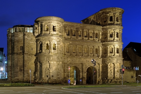 Evening view of the Porta Nigra  Black Gate  - a 2nd-century Roman city gate in Trier, Germany Stock Photo
