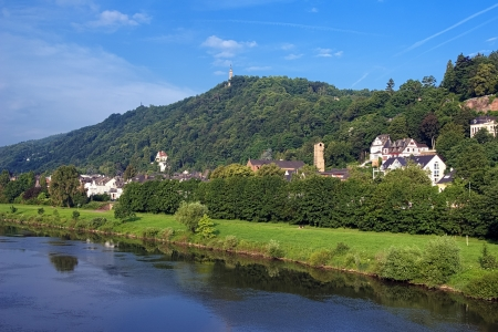 mosel: Trier, the left bank of the Moselle River with the St Mary Column on the Markusberg Mount, Germany Stock Photo