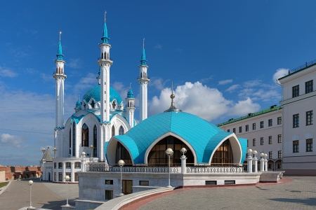 Qolsharif Mosque in Kazan Kremlin in summer day, Tatarstan, Russia photo