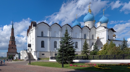 Cathedral of the Annunciation and Soyembika Tower in Kazan Kremlin, Tatarstan, Russia photo