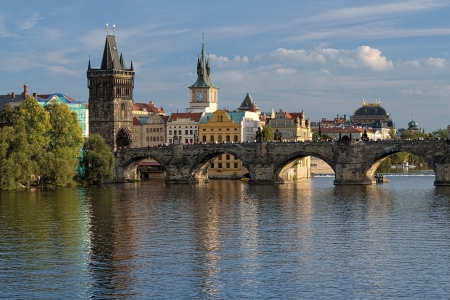 View of the Charles Bridge at the end of a summer day, Prague, Czech Republic photo