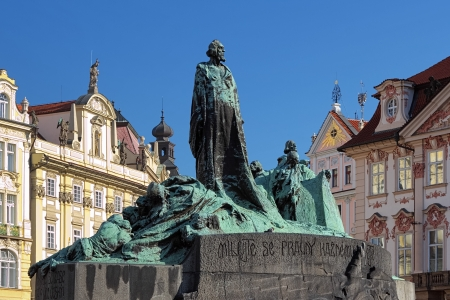 Jan Hus Monument on the Old Town Square in Prague, Czech Republic Stock Photo
