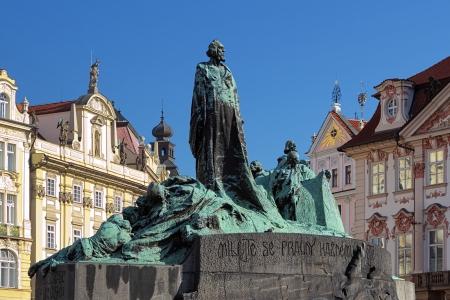 Jan Hus Monument op het Oude Stadsplein in Praag, Tsjechië Stockfoto