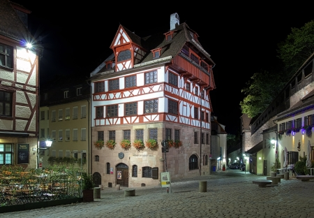 Night view of Albrecht Durer House in Nuremberg, Germany photo