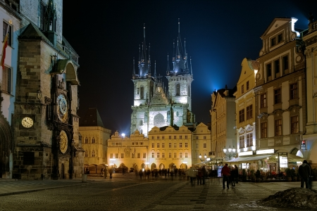 tyn: Prague, Evening view of Church of Our Lady before Tyn and fragmnent of the Old Town Hall on the Old Town Square, Czech Republic
