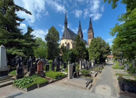 Vysehrad cemetery and basilica of St Peter and St Paul in Prague, Czech Republic Stock Photo