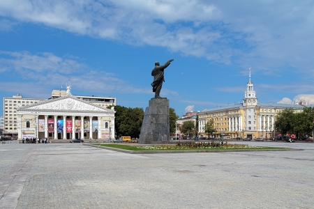voronezh: Voronezh, Lenin Square with Lenin monument, Building of Opera and Ballet Theatre and Building of Regional Council of Trade Unions, Russia