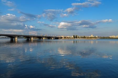 voronezh: Evening view of Voronezh water storage basin with Chernavskiy bridge, Russia Stock Photo