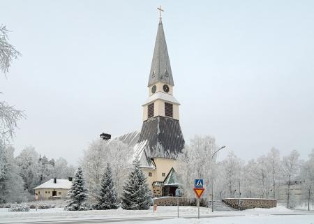 Rovaniemi Kerk in de winter, Fins Lapland, Finland