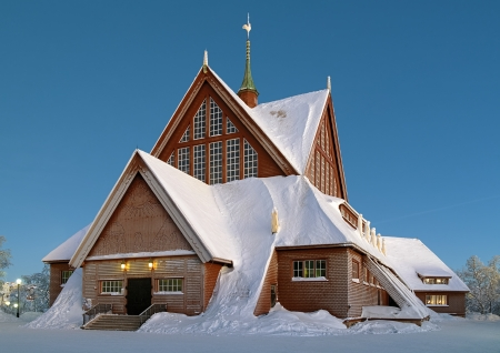 Kiruna Church in winter, Norrbotten Province, Sweden photo