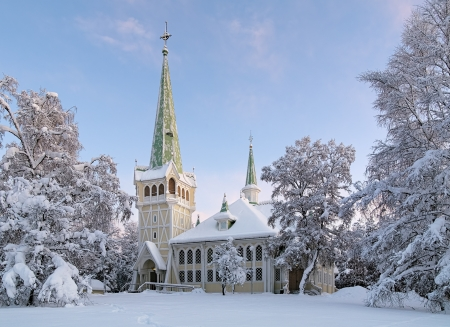 Jokkmokk New Church in winter, Norrbotten Province, Sweden Stock Photo - 17559510