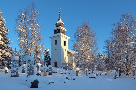 Vilhelmina Church in winter, Vasterbotten Province, Sweden Stock Photo - 17559512