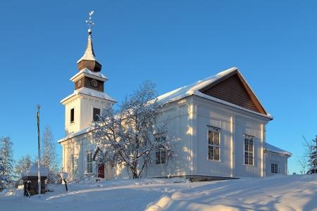 Vilhelmina Church in winter, Vasterbotten Province, Sweden Stock Photo - 17559502