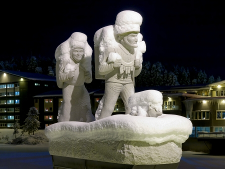 Memorial to the settlers in Lycksele in winter night, Vasterbotten Province, Sweden Stock Photo - 17559518