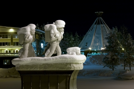Memorial to the settlers in Lycksele in winter night, Vasterbotten Province, Sweden Stock Photo - 17559520