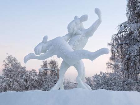 Dancing elks - Ice sculpture in Jokkmokk, Norrbotten Province, Sweden Stock Photo - 17559523