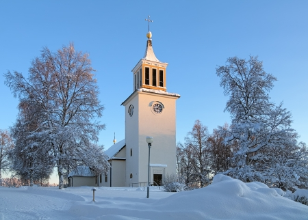 Dorotea Church in winter, Vasterbotten Province, Sweden Stock Photo - 17559571
