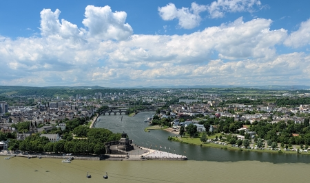 william: View of Koblenz with German Corner at the confluence of Rhine and Mosel rivers with equestrian statue of William the Great, Germany Stock Photo