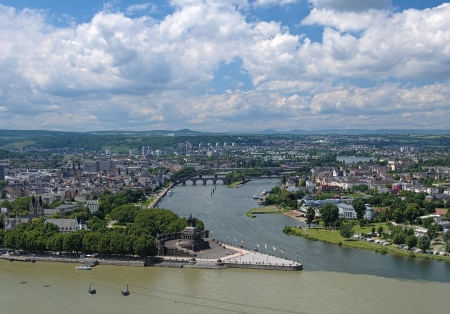 View of Koblenz with German Corner at the confluence of Rhine and Mosel rivers with equestrian statue of William the Great, Germany Stock Photo