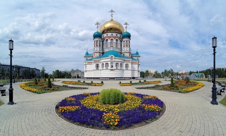 Uspensky Cathedral on the Cathedral Square in Omsk, Russia photo
