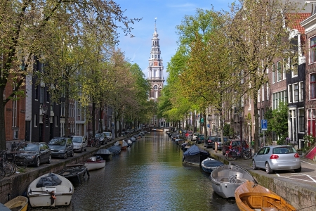 View on Zuiderkerk from Groenburgwal canal in Amsterdam, Netherlands photo