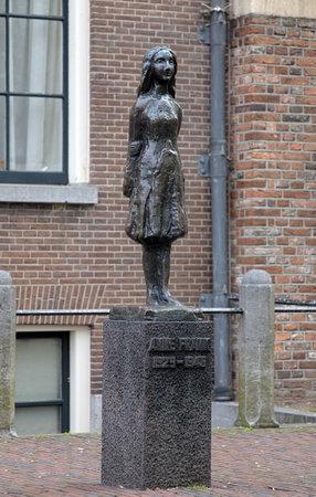 anne: Monument of Anne Frank outside the Westerkerk in Amsterdam, Netherlands