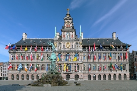 City Hall and Brabo fountain on the Great Market Square of Antwerp, Belgium Stock Photo