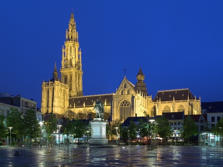Cathedral of Our Lady and statue of Peter Paul Rubens in Antwerp at evening, Belgium
