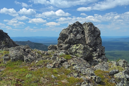 kazansky: Rock on the Third Bugor Mount in Northern Ural Mountains, Russia Stock Photo