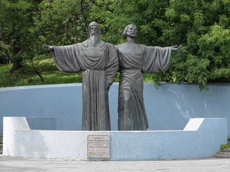Monument of Athanasius and Theodosius of Cherepovets, the founders of Resurrection Monastery in Cherepovets, Russia photo