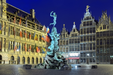 Evening view of the City Hall, Brabo fountain and Guild buildings on the Great Market Square of Antwerp, Belgium photo