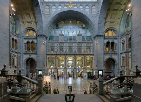 eclecticism: Entrance hall of the Antwerp Central train station, Belgium Editorial