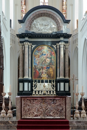 Altar with altarpiece  The assumption of the Virgin  by Peter Paul Rubens in the Cathedral of Our Lady in Antwerp, Belgium