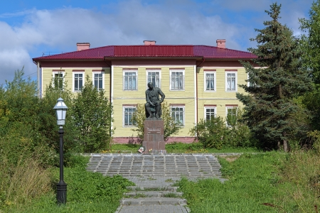 mikhail: Monument of the great russian scientist Mikhail Lomonosov in the village Lomonosovo, his birthplace, Arkhangelsk Oblast, Russia Editorial
