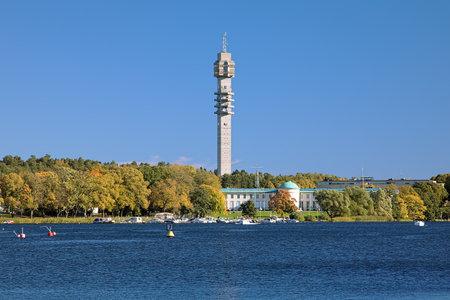 View of Kaknas TV tower from Djurgarden island in Stockholm, Sweden