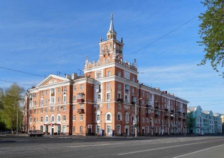stalin empire style: Building with spire - symbol of Komsomolsk-on-Amur, Far East, Russia