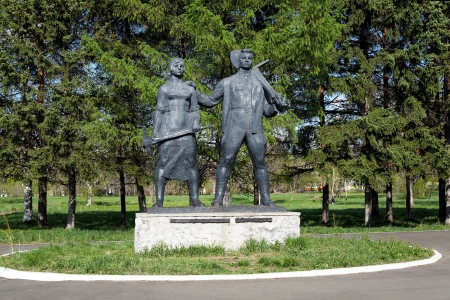 Monument to Komsomol of 30s in Komsomolsk-on-Amur, Far East, Russia Editorial