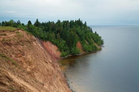 onega: Lake Onega, the Andoma Cape with Andoma Hill, Vologda region, Russia