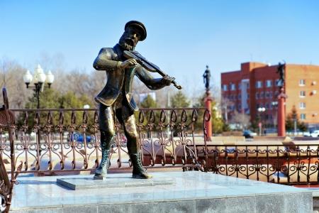 Sculpture of Jewish violinist at the Theatre Square in Birobidzhan, Jewish Autonomous Region, Russia