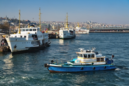 eminonu: Passenger ships at pier Eminonu in Istanbul, Turkey