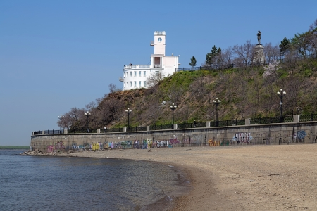 nikolay: Cliff over the Amur River in Khabarovsk with historical building and monument of Nikolay Muraviev-Amursky, Far East, Russia