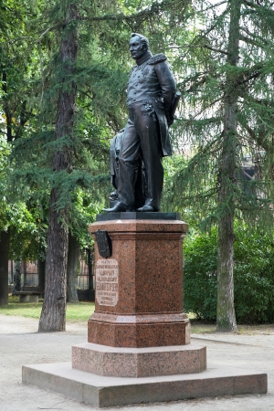 discoverer: Monument to the Antarctica discoverer Fabian Gottlieb von Bellingshausen in Kronstadt, Russia