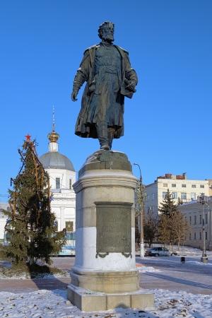 reiste: Denkmal f�r Afanasy Nikitin, einem russischen Kaufmann und Forscher, der in 1466-1472 nach Indien gereist, Twer, Russland