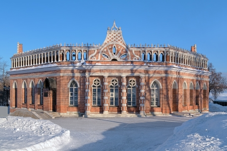 the tsaritsyno: Second Cavaliers Building or Octahedron in Tsaritsyno museum-reserve in winter, Moscow, Russia Editorial