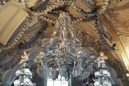 Chandelier made of bones and skulls in Sedlec ossuary, Kutna Hora, Czech Republic Editorial