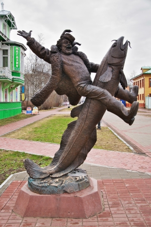 burbot: Monumento al campesino a caballo en la lota en Arkhangelsk, Rusia