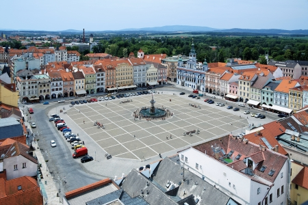budejovice: Central square of Ceske Budejovice with fountain Samson, Czech Republic