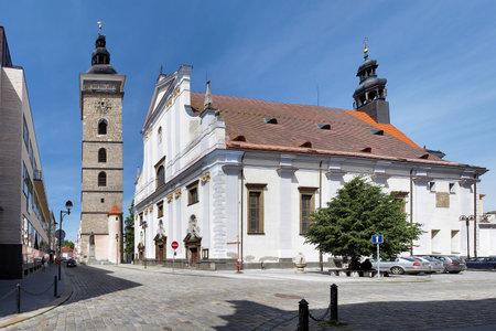 ceske: Black Tower and St  Nicholas Cathedral in Ceske Budejovice, Czech Republic