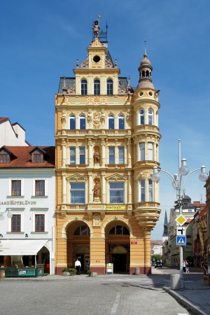 budejovice: Yellow building in baroque style at the central square of Ceske Budejovice, Czech Republic Editorial